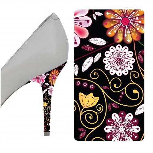 Black Floral heel wrap
