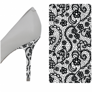 Black and White Lace heel wrap