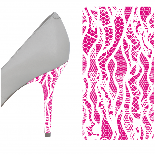 Pink and White Lace heel wrap