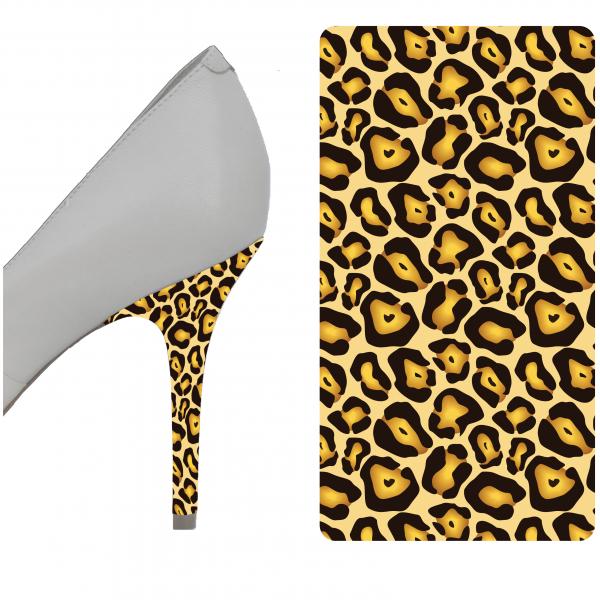 heel scuff repair | Brown and Gold Leopard heel wrap
