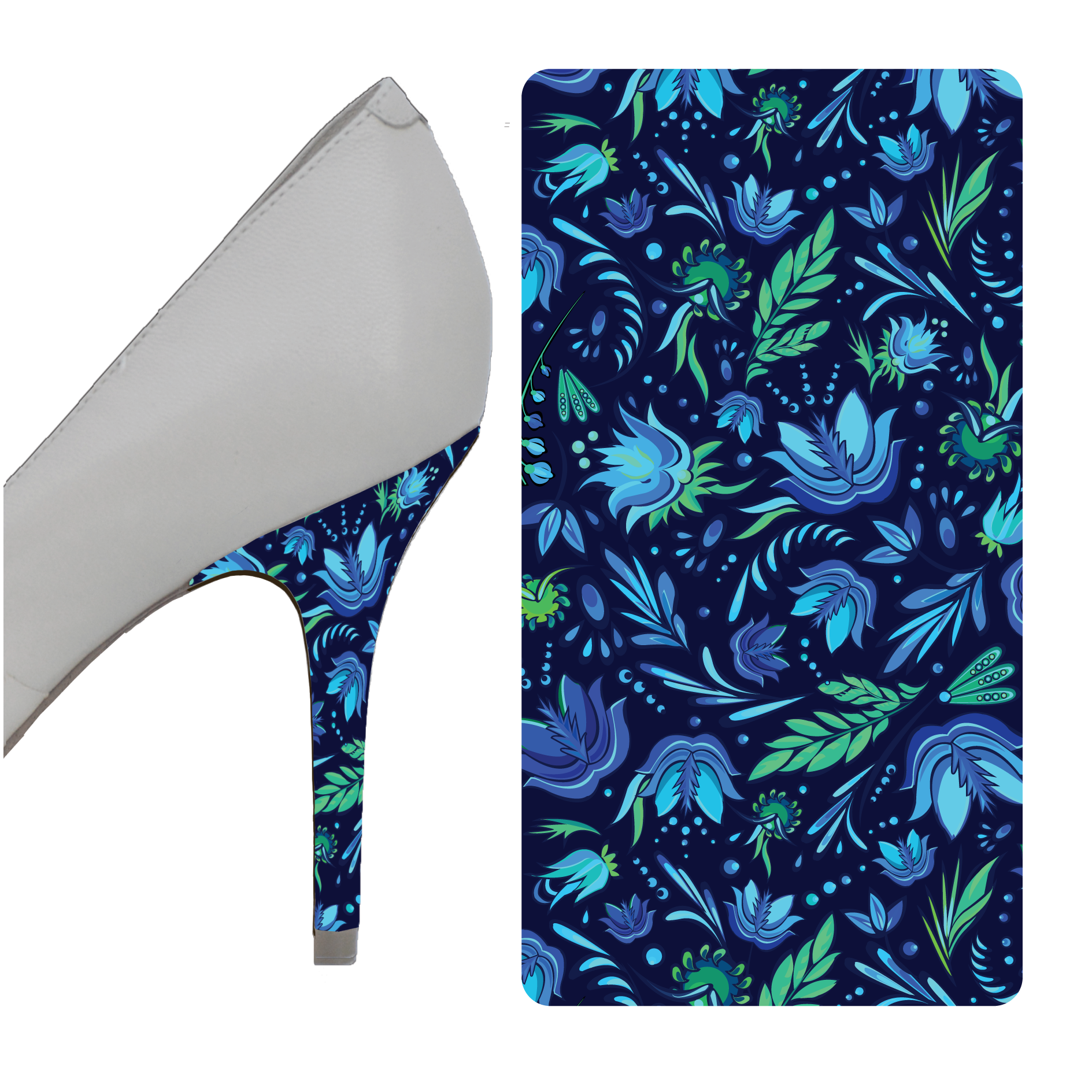 Blue Floral Heel Wrap heel wrap