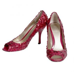 Ruby Red Sequined Heels